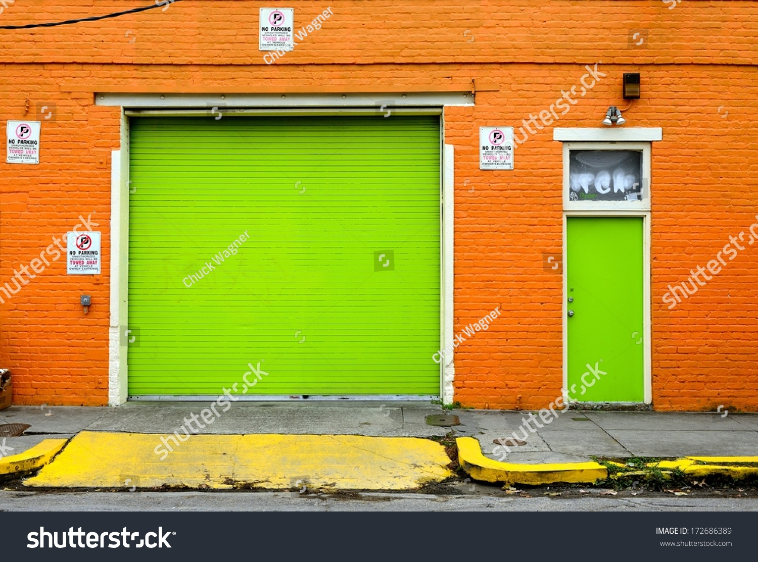 3145 Funky Brightly Painted Garage Front With Overhead Door And Entry Door wallpaper of Funky Front & Funky Front Doors Ideas Design Pics u0026 Examples | sneadsferry ... pezcame.com