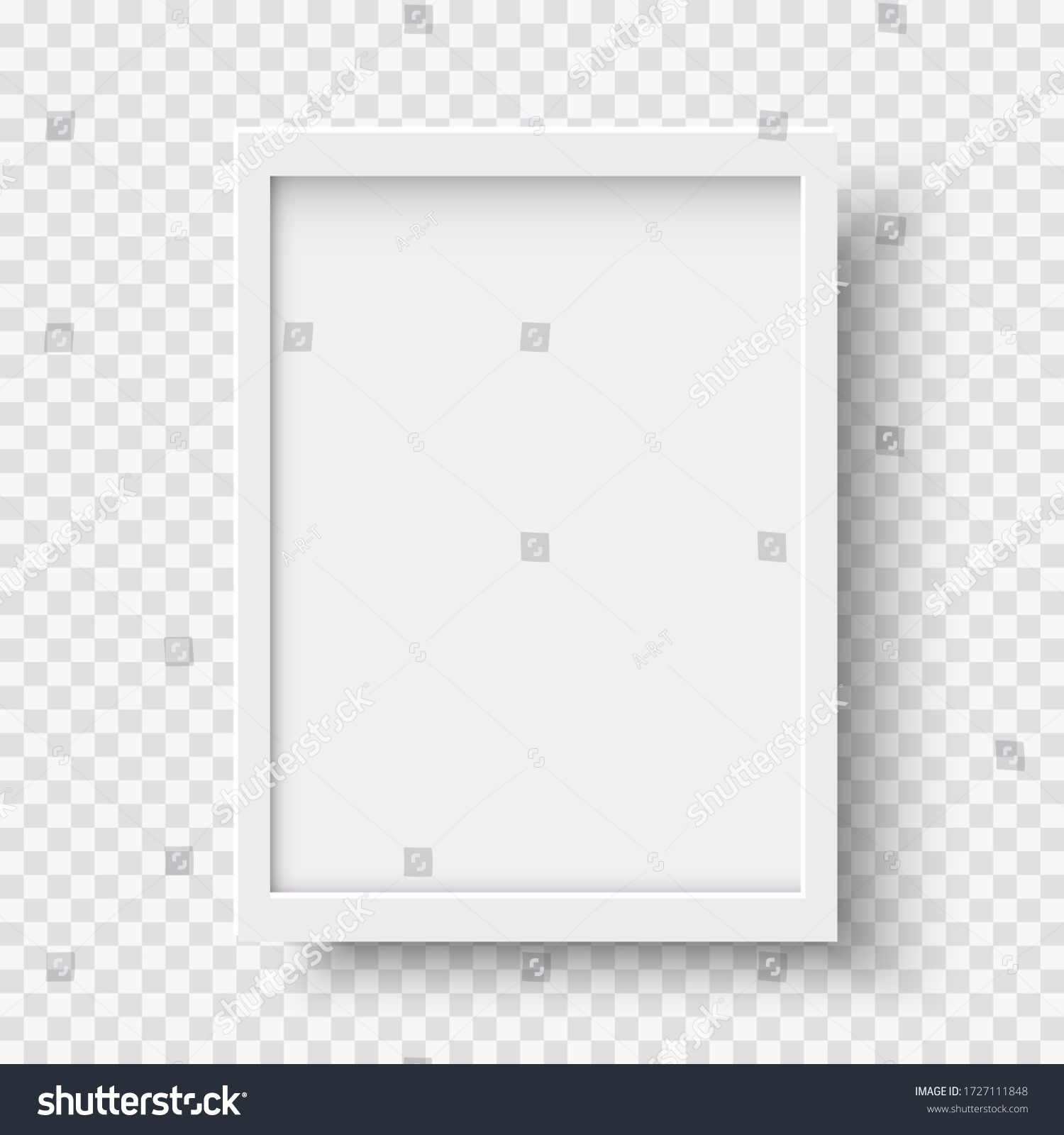 White blank picture frame, realistic vertical picture frame, A4. Empty white picture frame mockup template isolated. Vector illustration #1727111848