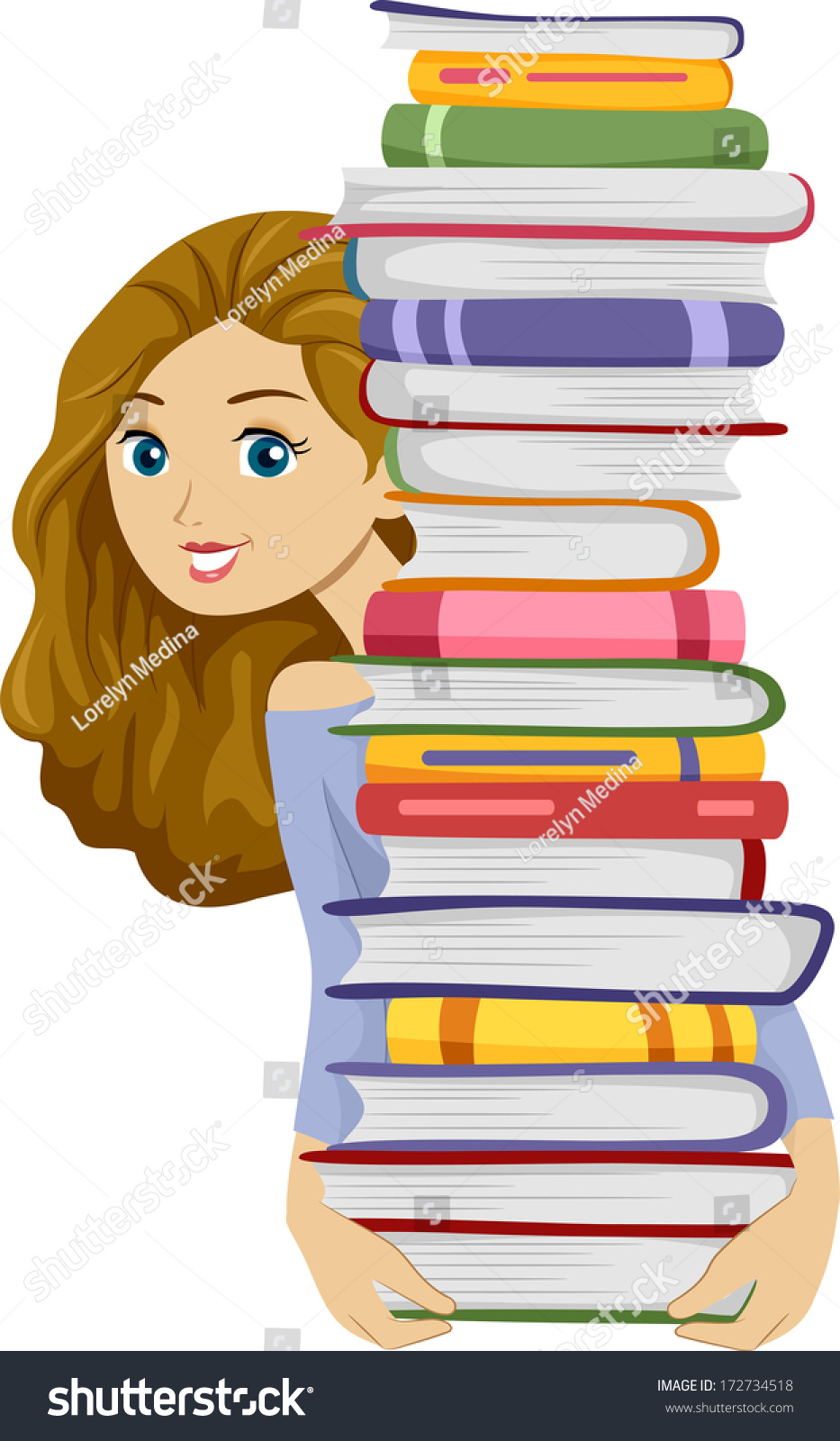 illustration girl carrying tall stack books stock vector (royalty
