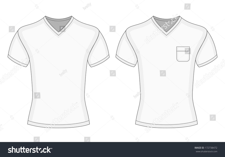 Shirt design illustrator template - Men S White Short Sleeve V Neck T Shirt Design Template Front View