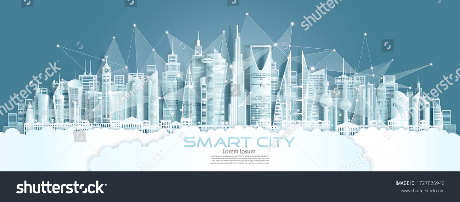 Technology wireless network communication smart city with architecture in middle east of Asia downtown skyscraper on blue background, Vector illustration futuristic green city and panorama view.