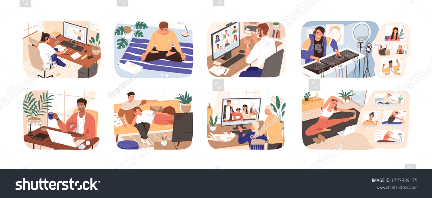 People stay at home. Men and women working, doing exercises and yoga, relax, communicate with family during quarantine. Work, leisure and hobby on isolation. Vector illustration in flat cartoon style. #1727889175