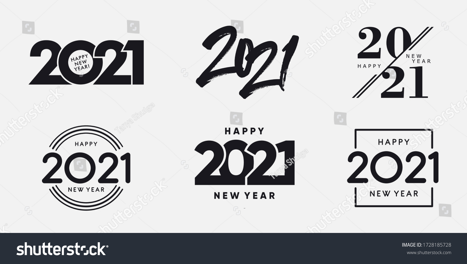 Big Set of 2021 Happy New Year logo text design. 2021 number design template. Collection of 2021 happy new year symbols. Vector illustration with black labels isolated on white background.  #1728185728