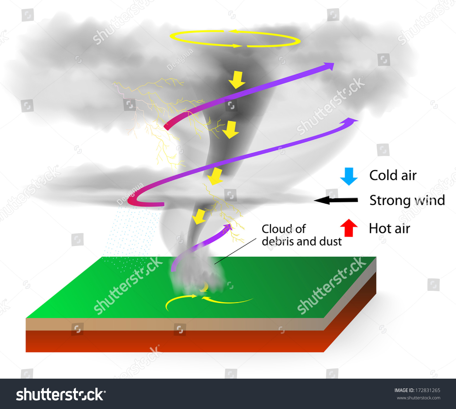 Tornadoes Visible Condensation Funnel Whose Narrow Stock