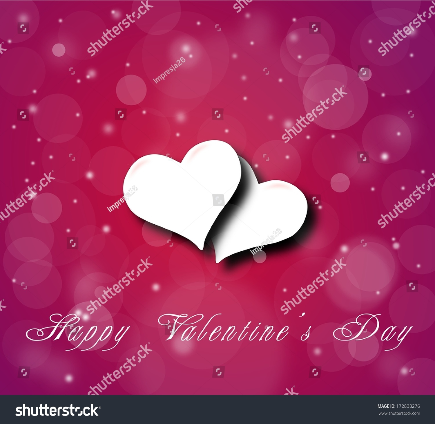 Couple Of Hearts On The Violet Red Background For A Valentineu0027s Day With  Snow