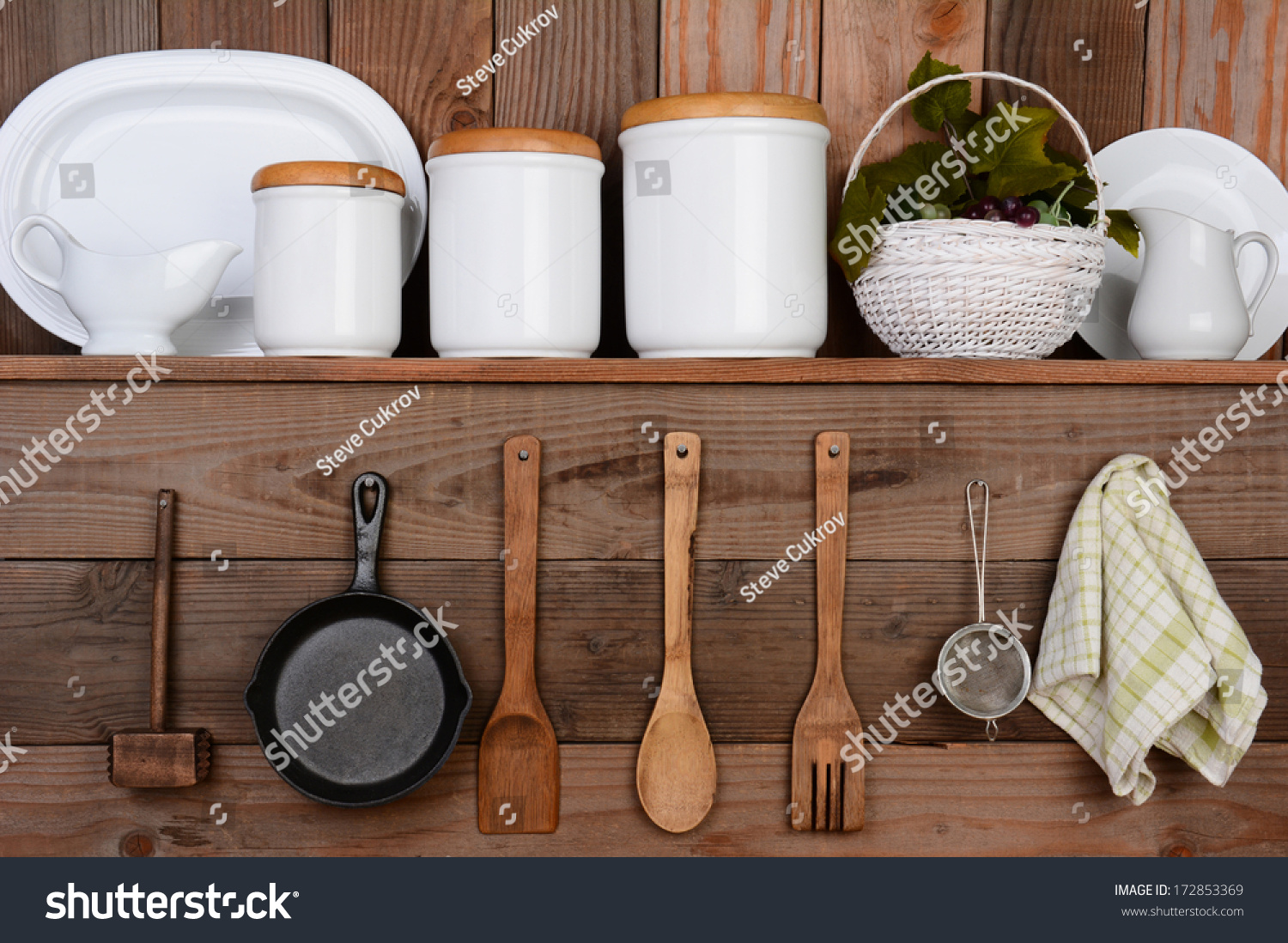 Kitchen Wall Hanging Closeup Rustic Kitchen Wall One Shelf Stock Photo 172853369