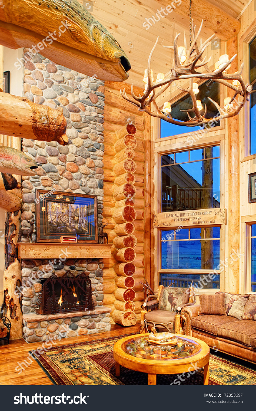 Great Room Modern Log Cabin Rustic Buildings Landmarks