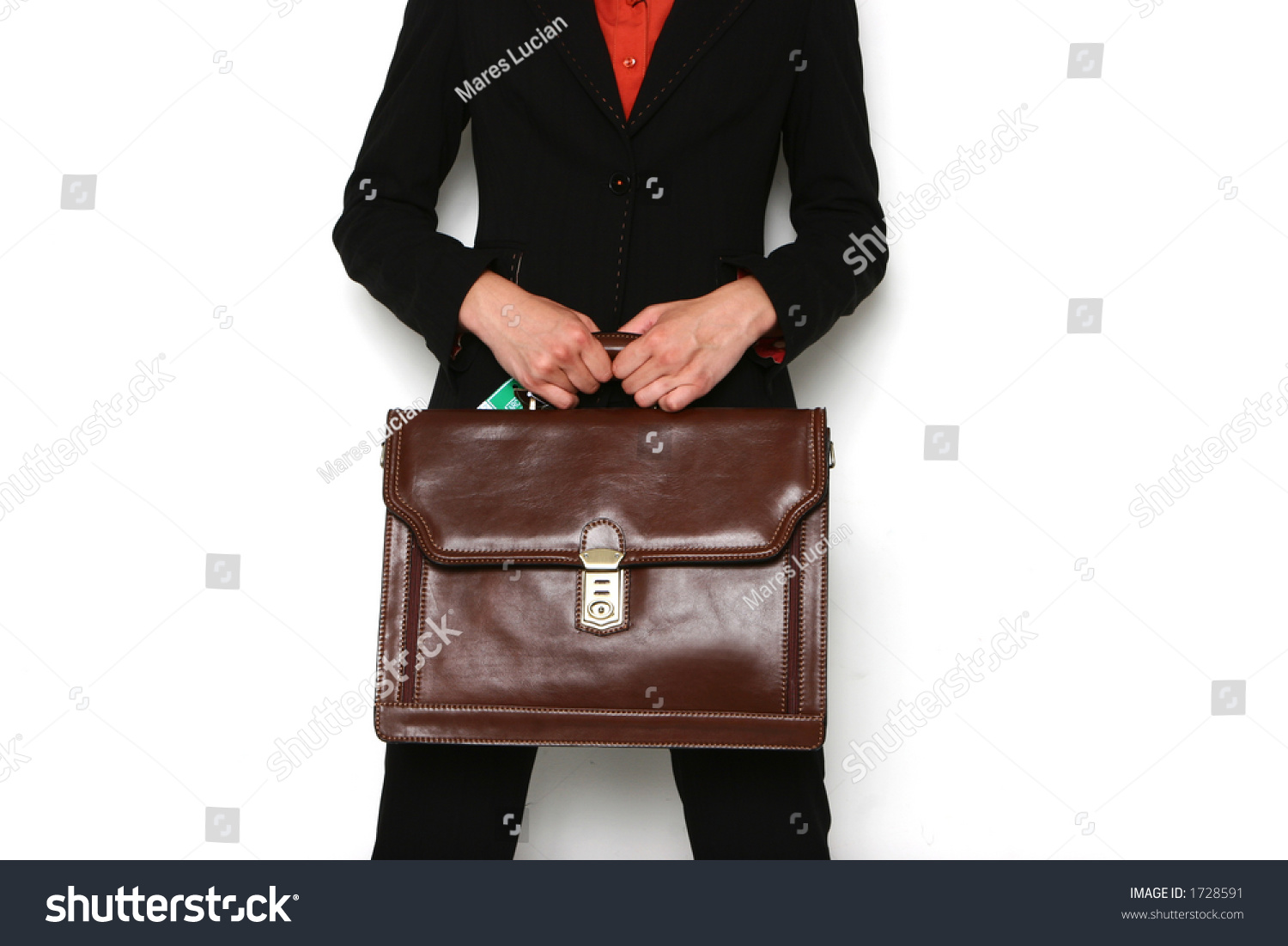 Black Suit Woman With Brown Bag Stock Photo 1728591 : Shutterstock