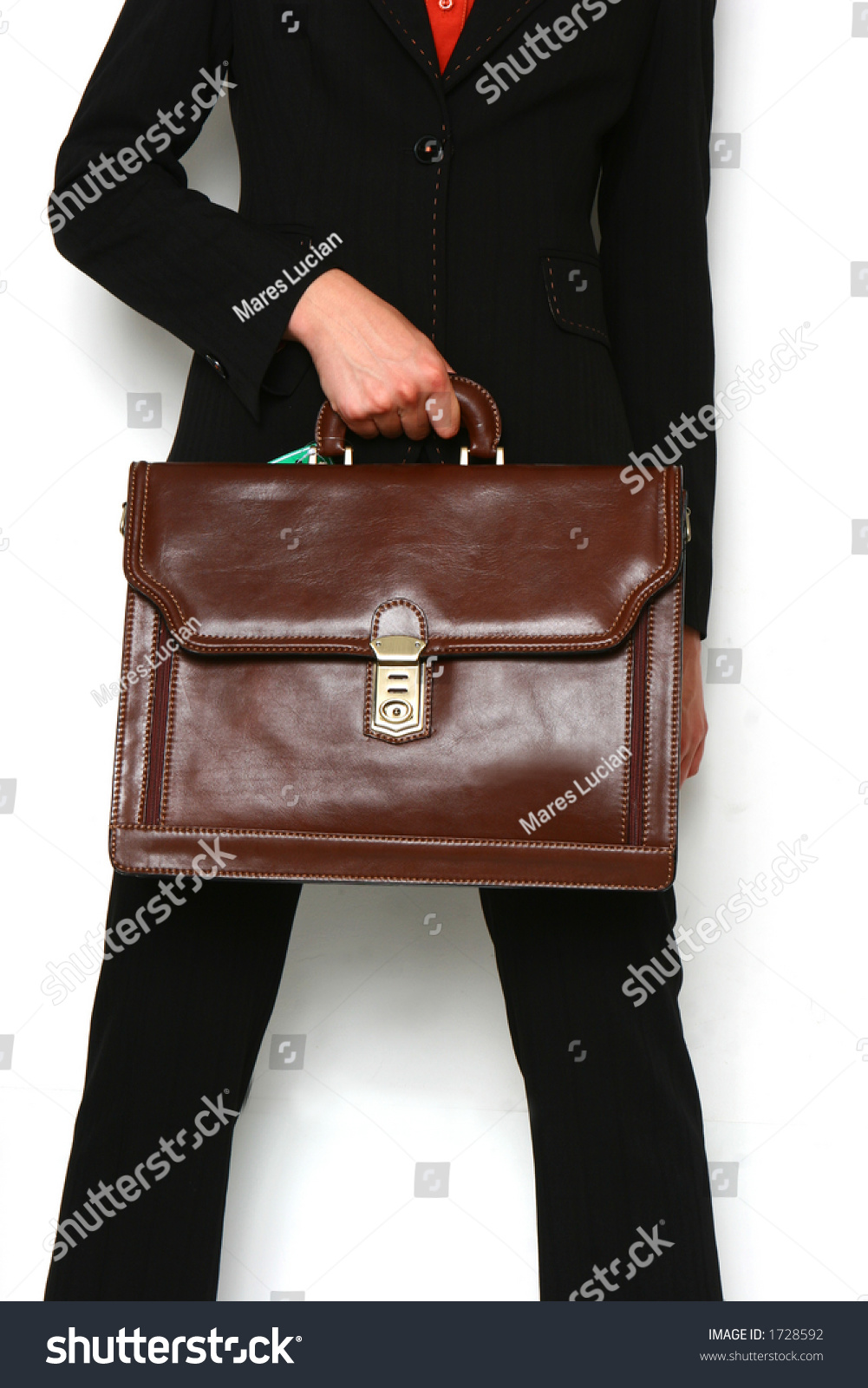 Black Suit Woman With Brown Bag Stock Photo 1728592 : Shutterstock