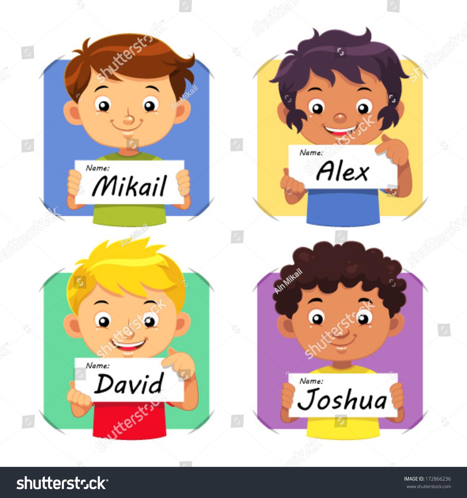 Boys Premium Name Labels: Boys Name 1 Boys Holding Their Name Tag. Stock Photo