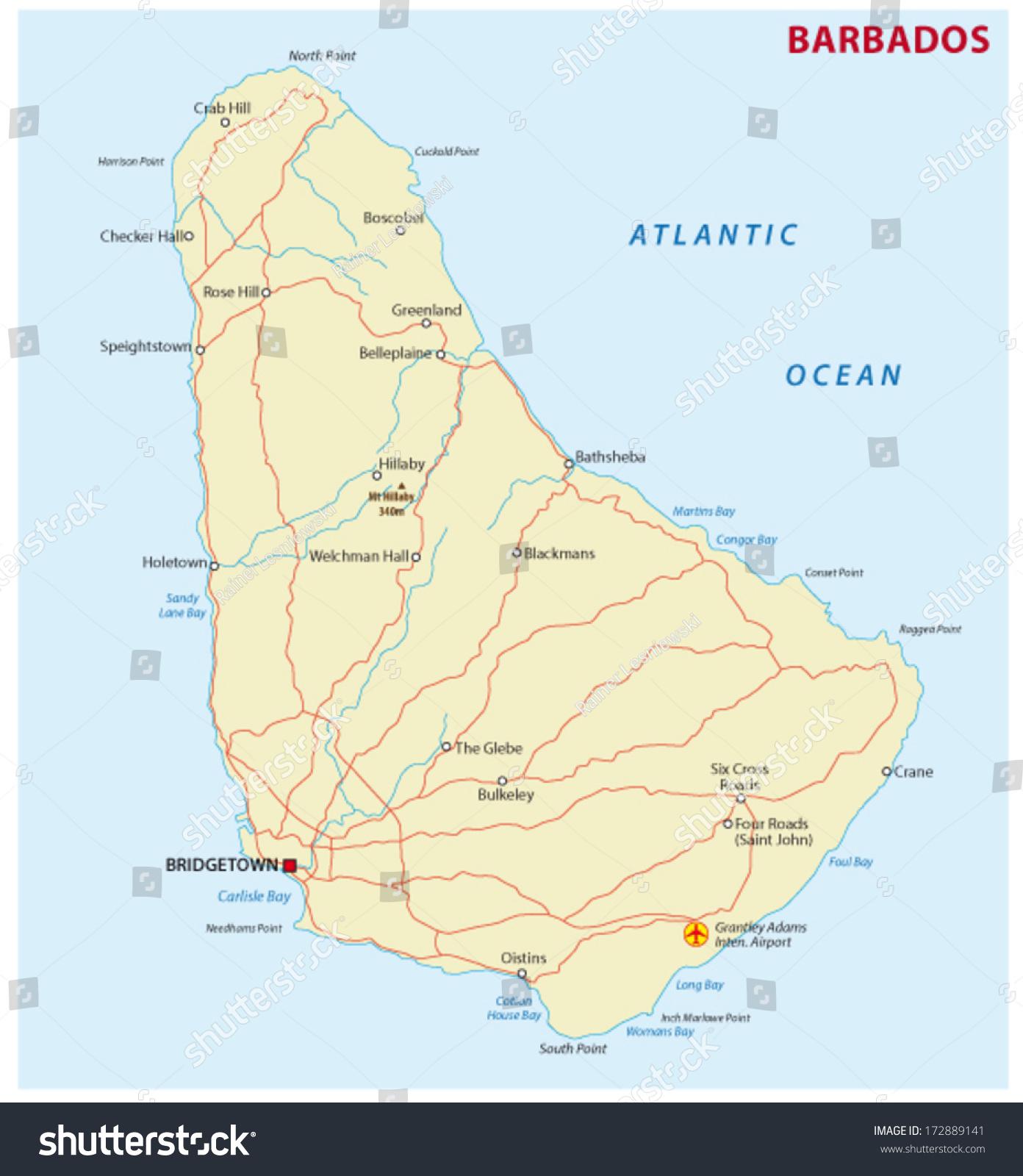 Barbados Map Stock Vector Shutterstock - Barbados map