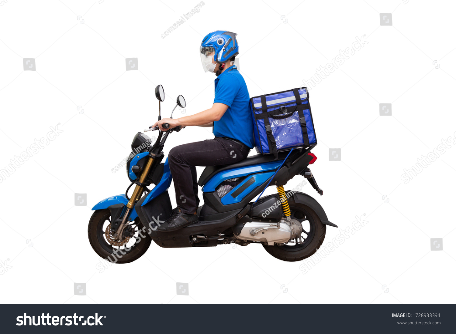 Delivery man wearing blue uniform riding motorcycle and delivery box. Motorbike delivering food or parcel express service isolated on white background #1728933394