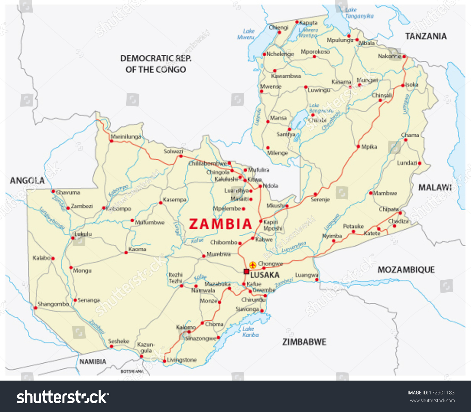 Zambia Road Map Stock Vector 172901183 Shutterstock