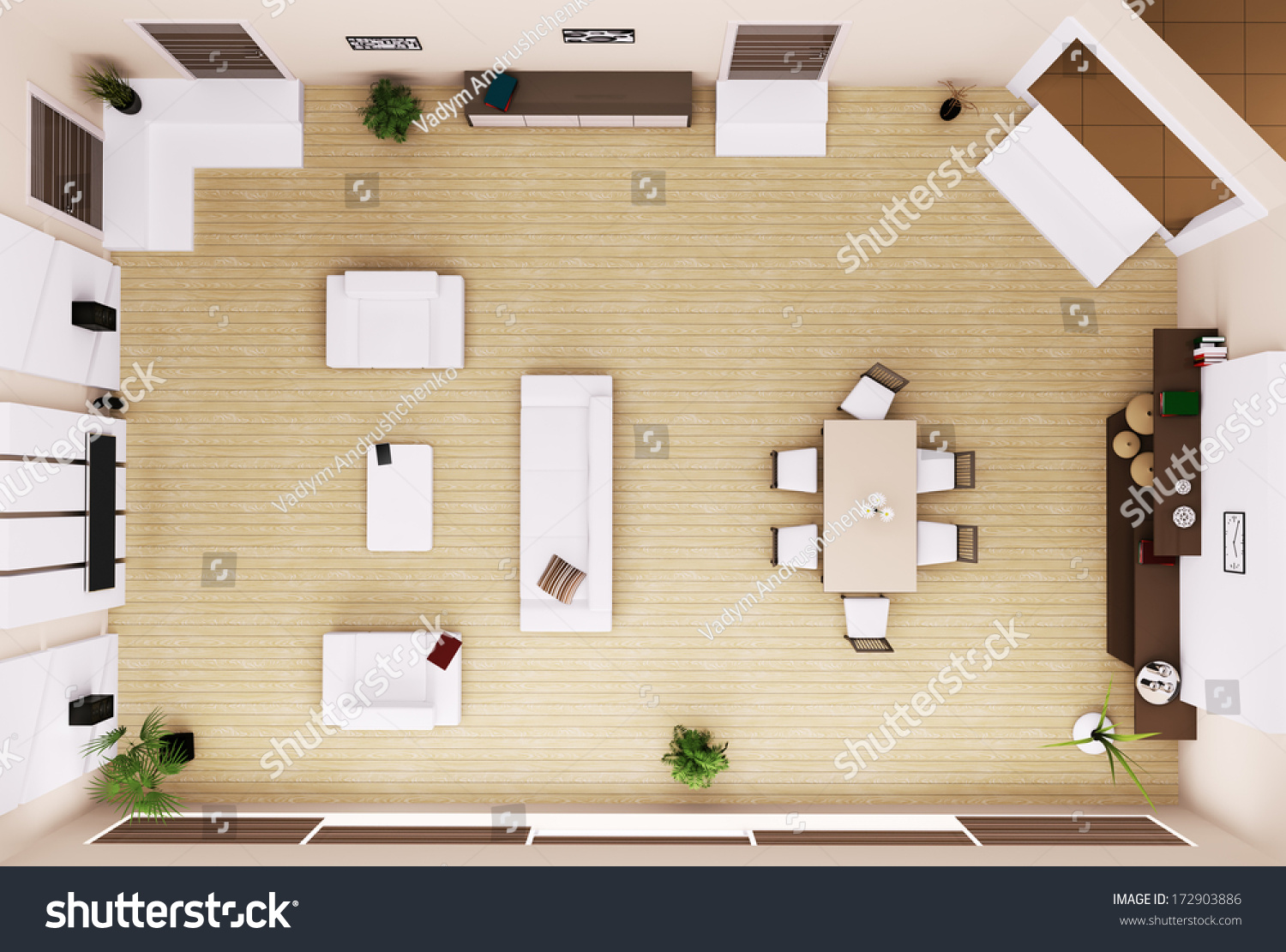 Top view of modern living room interior 3d render stock for Living room 3d view