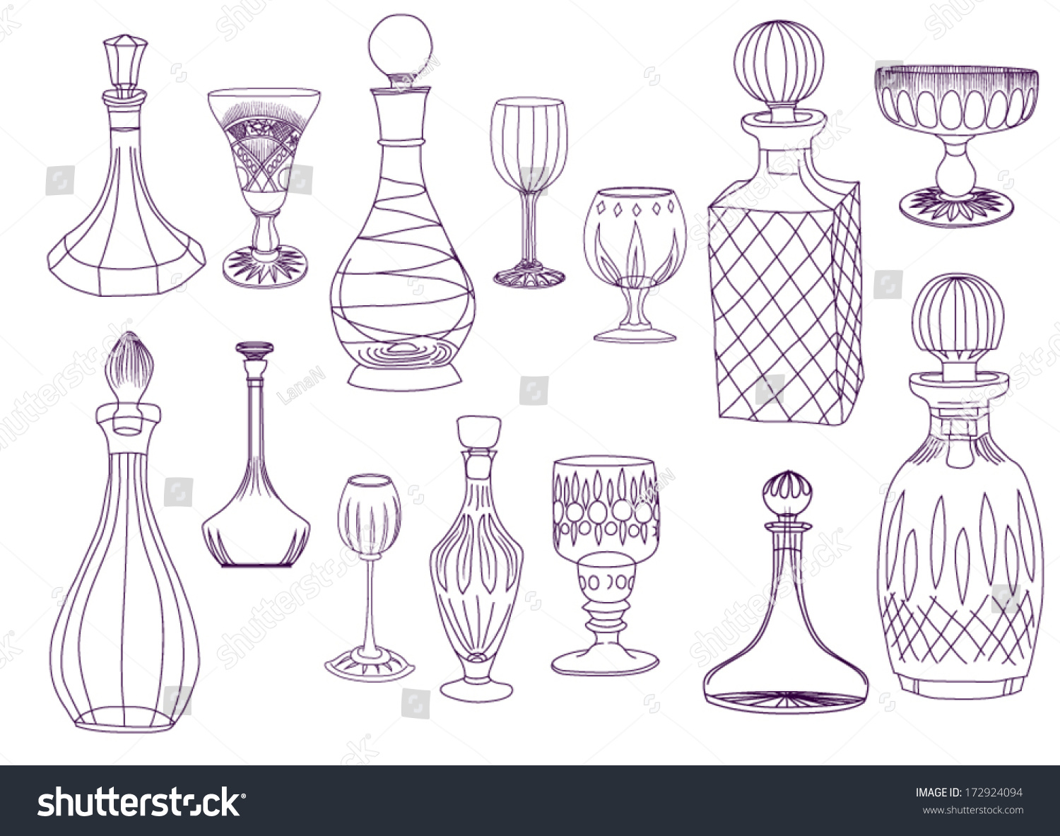 Antique crystal decanters glasses set hand stock vector 172924094 antique crystal decanters and glasses set of hand drawn crystal decanters and glasses line biocorpaavc Gallery
