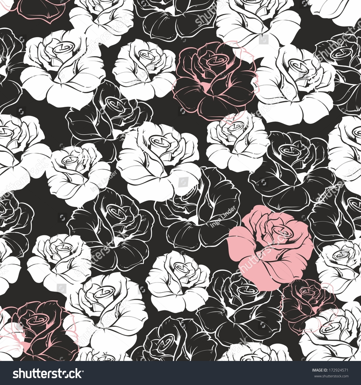 Seamless Dark Floral Pattern Classic White Stock Illustration