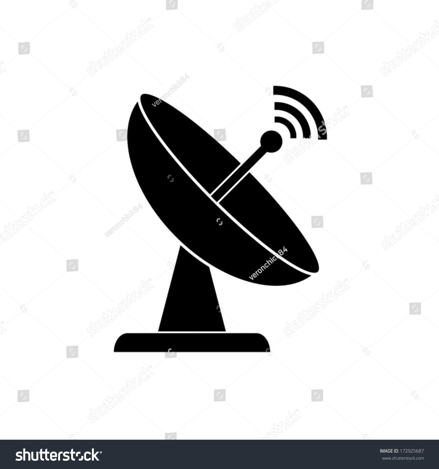 Radar Satellite Dish Vector Icon Stock Vector 172925687 - Shutterstock