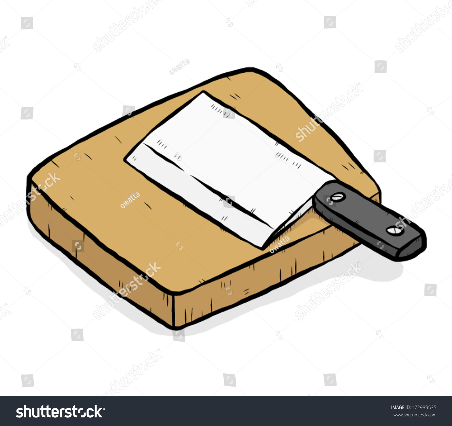 Kitchen Knife Chopping Block Cartoon Vector Stock Vector ...