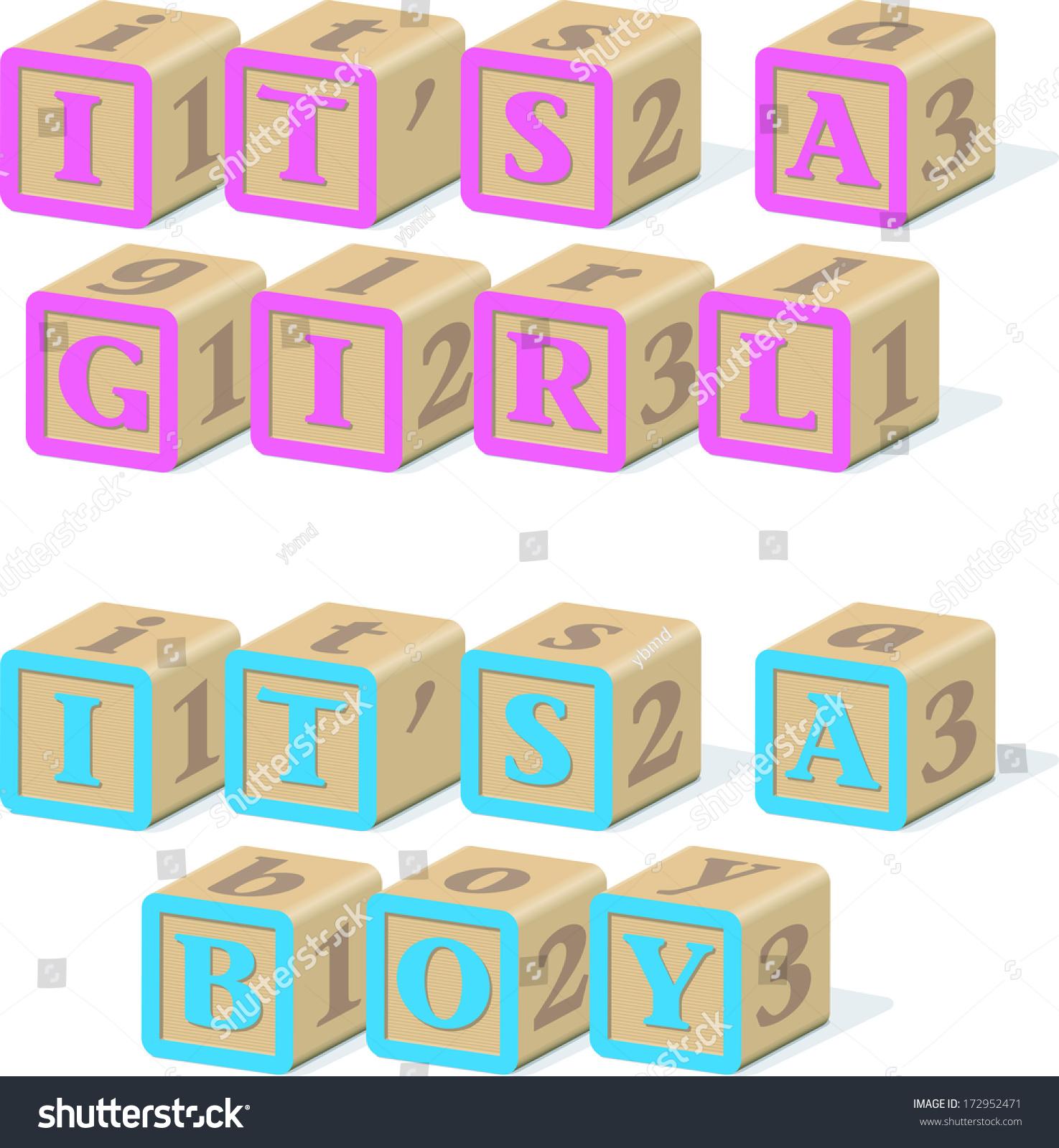 Abc Wooden Baby Blocks That Spell Stock Illustration