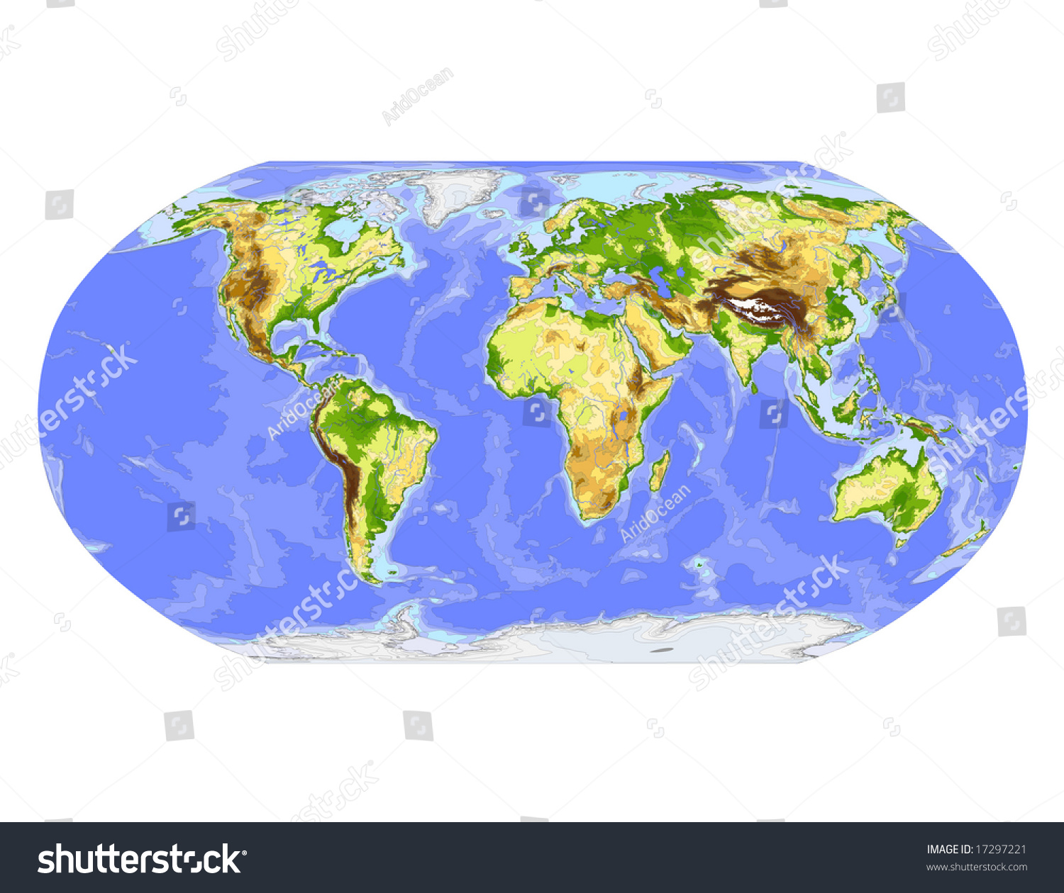 World physical vector map robinson projection vectores en stock world physical vector map robinson projection centered on africa colored according to elevation gumiabroncs Images