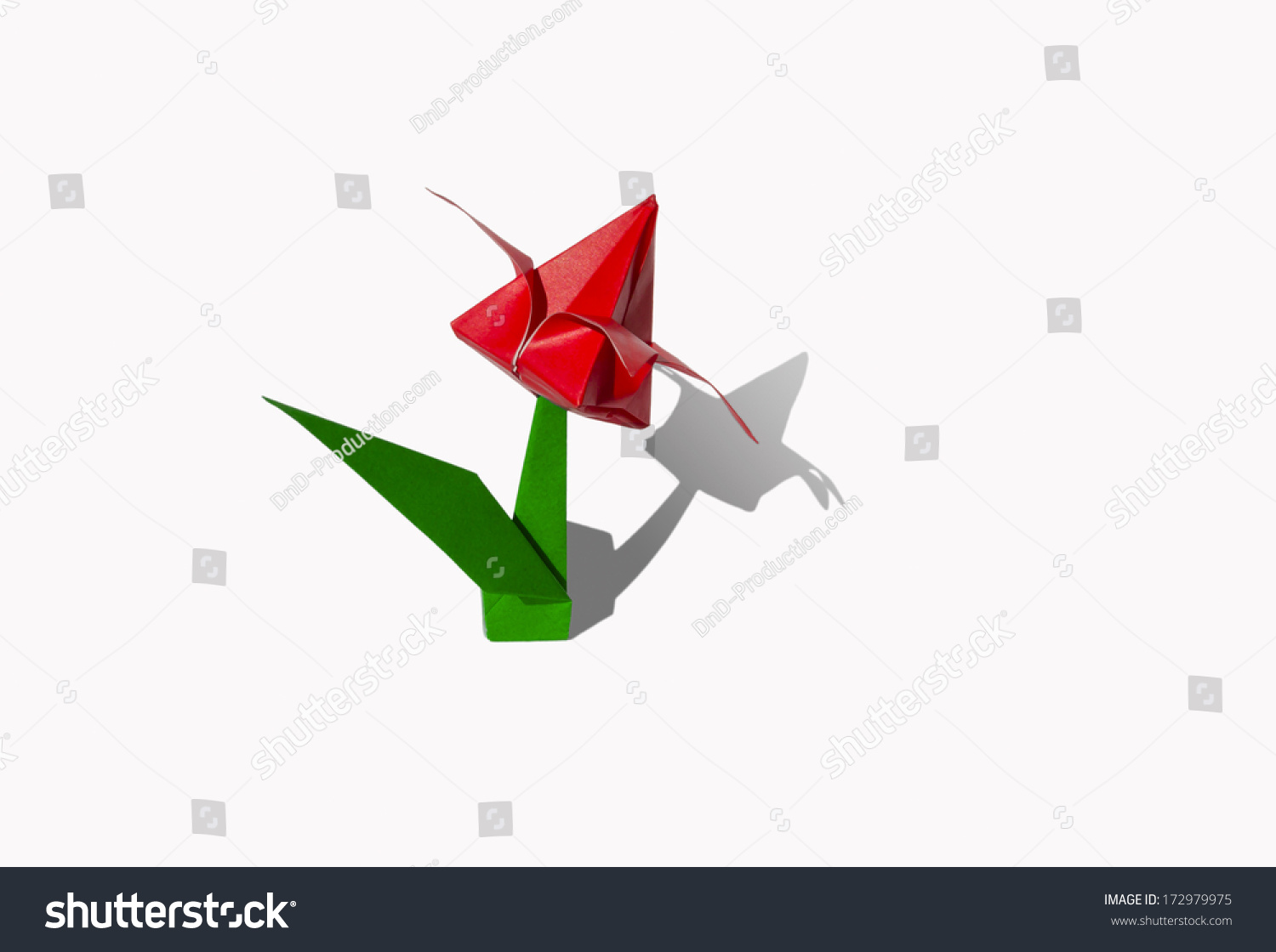 Origami red flower tulip isolated on stock photo 172979975 origami red flower tulip isolated on white jeuxipadfo Image collections