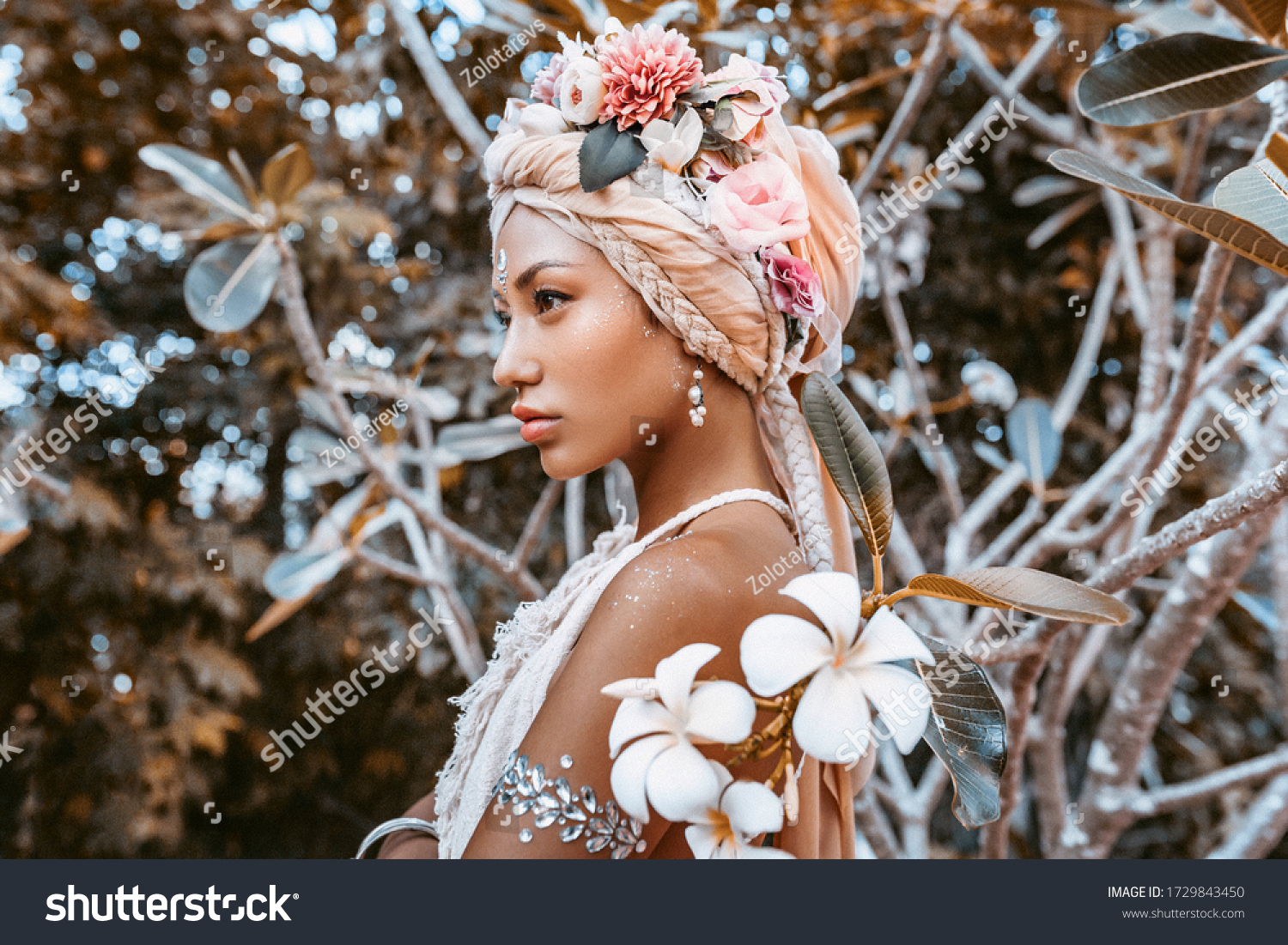 beautiful young stylish woman wearing flowers wreath outdoors portrait #1729843450