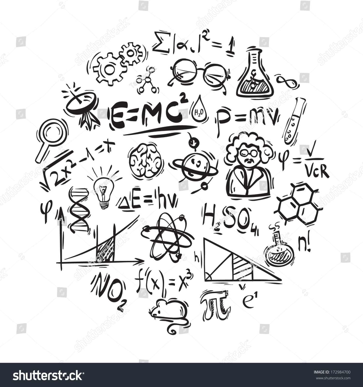 science drawing doodle icon vector shutterstock music