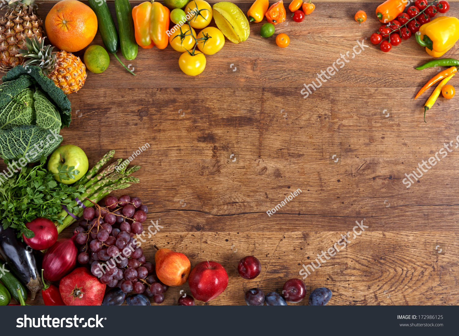 Food background studio photo of different fruits and vegetables - Healthy Eating Background Studio Photography Of Different Fruits And Vegetables On Old Wooden Table