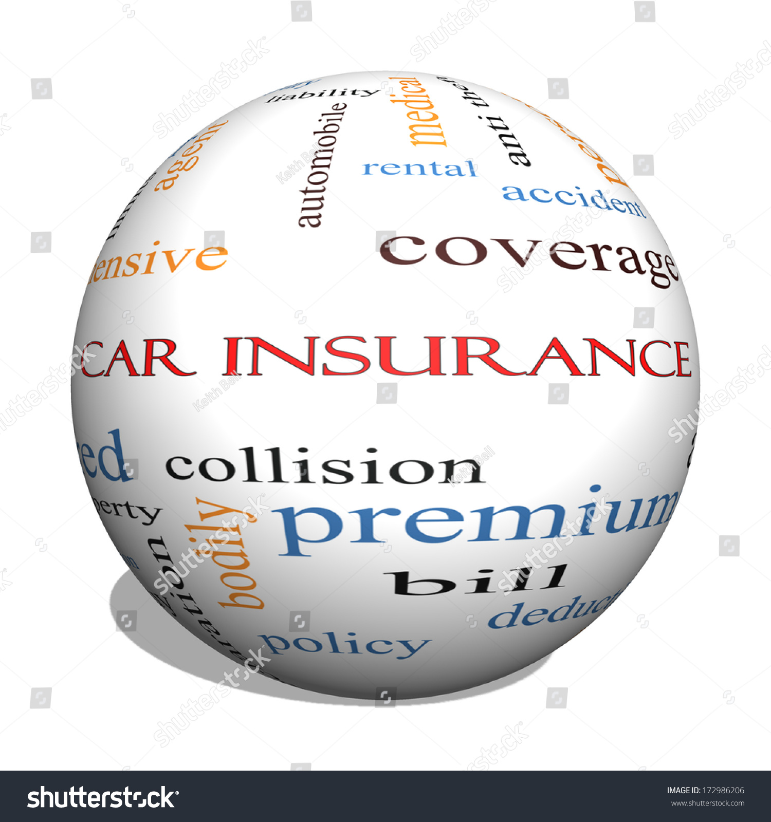 car insurance 3d sphere word cloud concept with great terms such as auto claims coverage bill. Black Bedroom Furniture Sets. Home Design Ideas