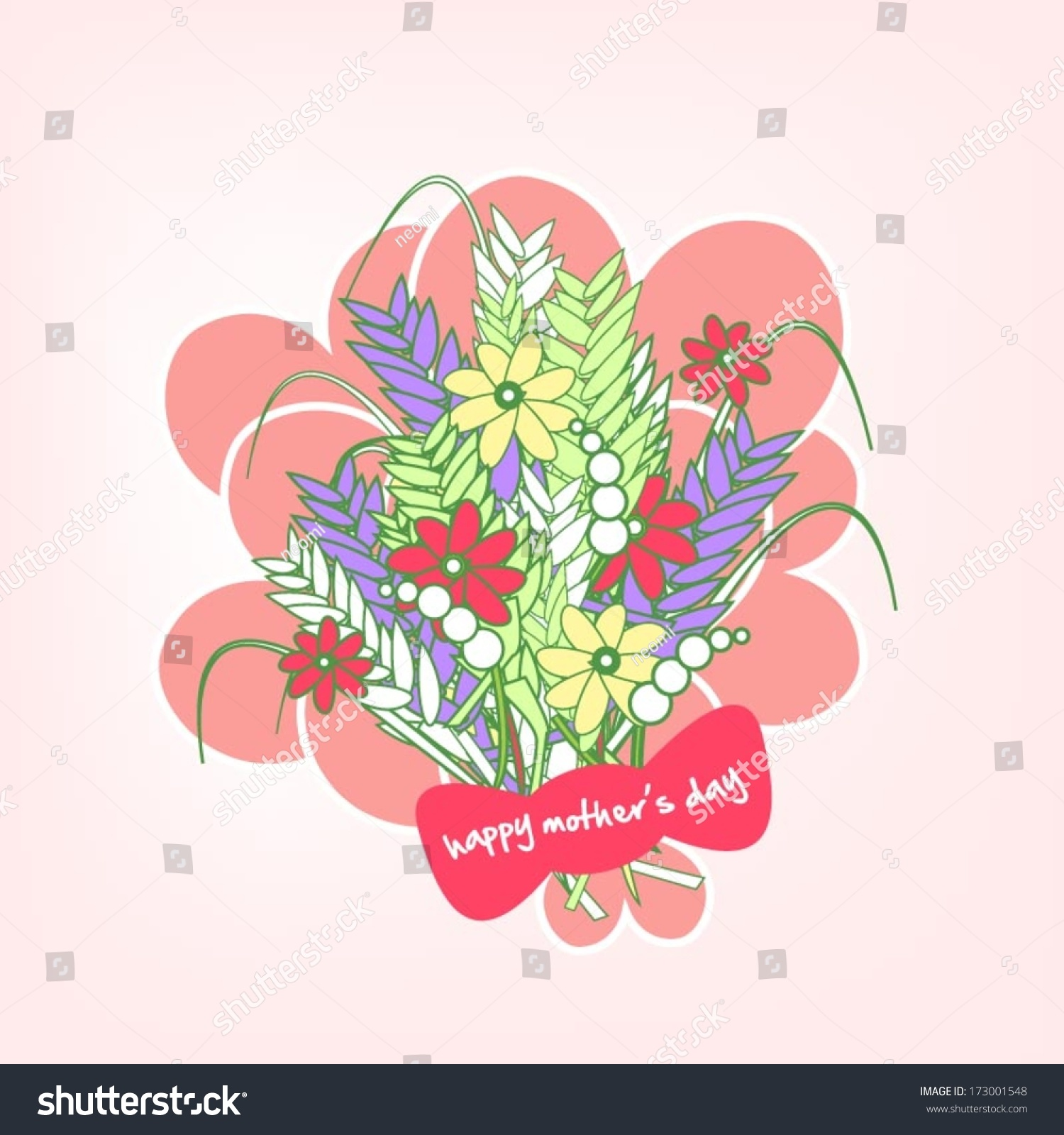 Bunch Flowers Greeting Mothers Day Happy Stock Vector 173001548