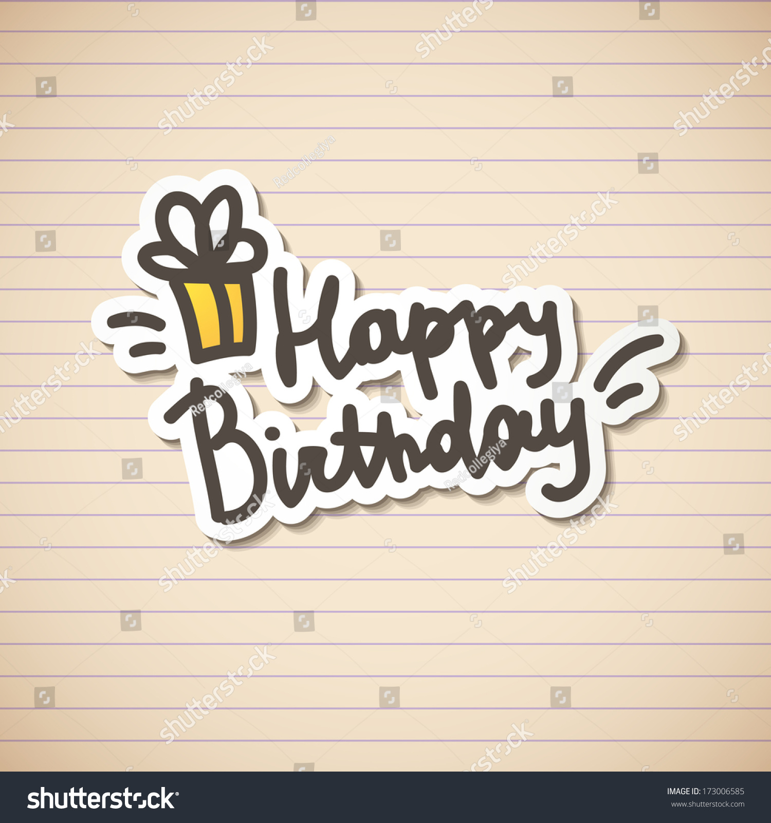 Happy Birthday, Handwritten Text Stock Photo 173006585