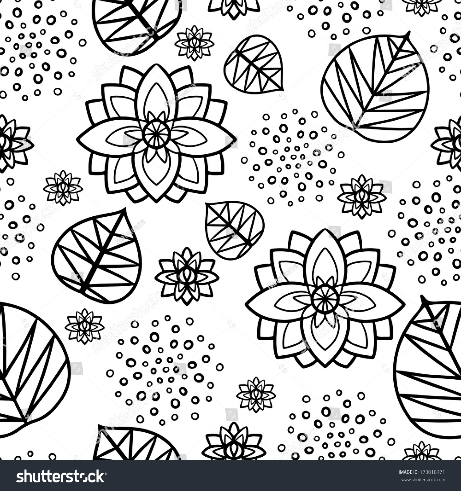 Water Lily Stencil Black And White: Seamless Pattern Water Lily Flowers Leaves Stock Vector