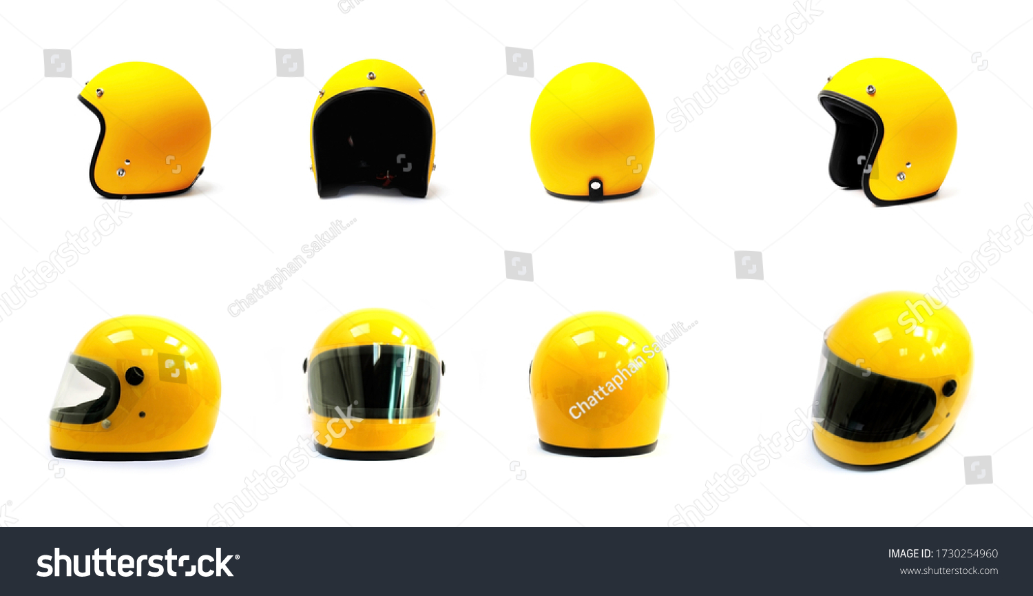 Yellow motorcycle Full helmet and Open face helmet on a white background, side back front #1730254960