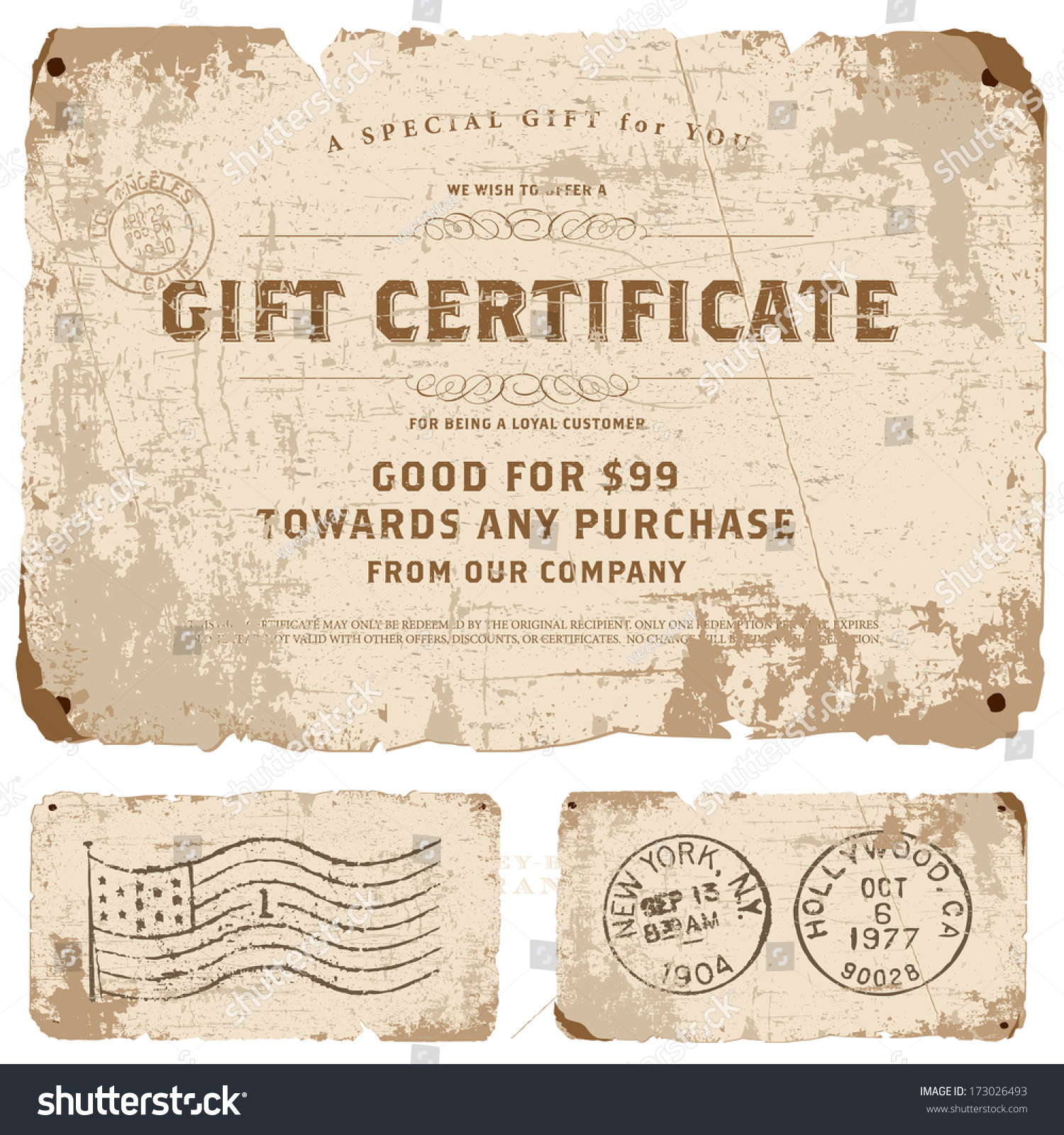 vector vintage gift certificate template set stock vector vector vintage gift certificate template set great for retro diplomas certificates and awards