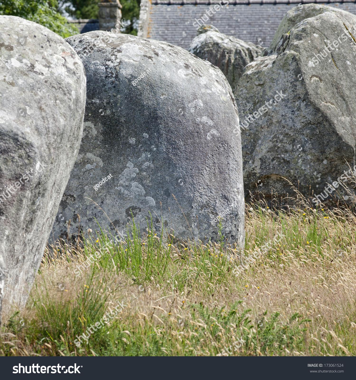 backyard stones intriguing standing stones city stock photo