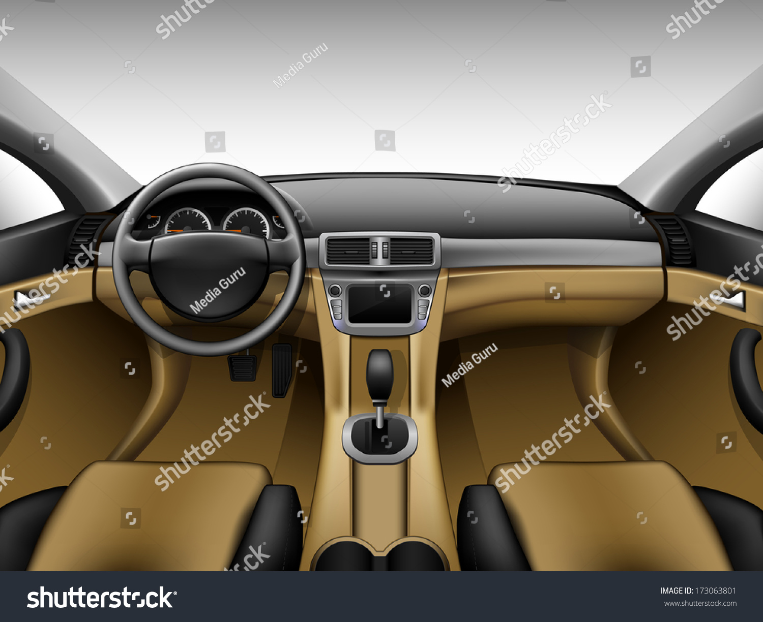 light beige leather car interior stock vector illustration 173063801 shutterstock. Black Bedroom Furniture Sets. Home Design Ideas