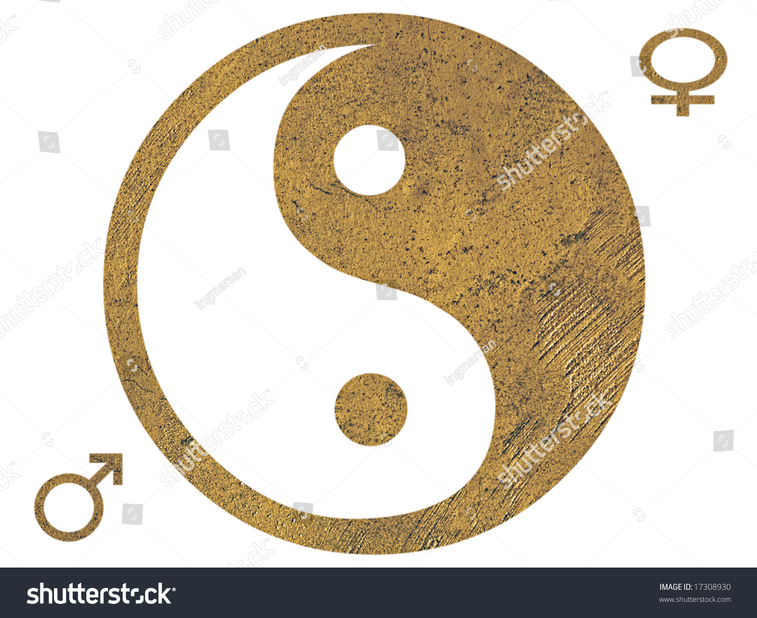 Isolated golden grunge yin yang symbol stock photo 17308930 isolated golden grunge yin yang symbol with male and female symbols biocorpaavc