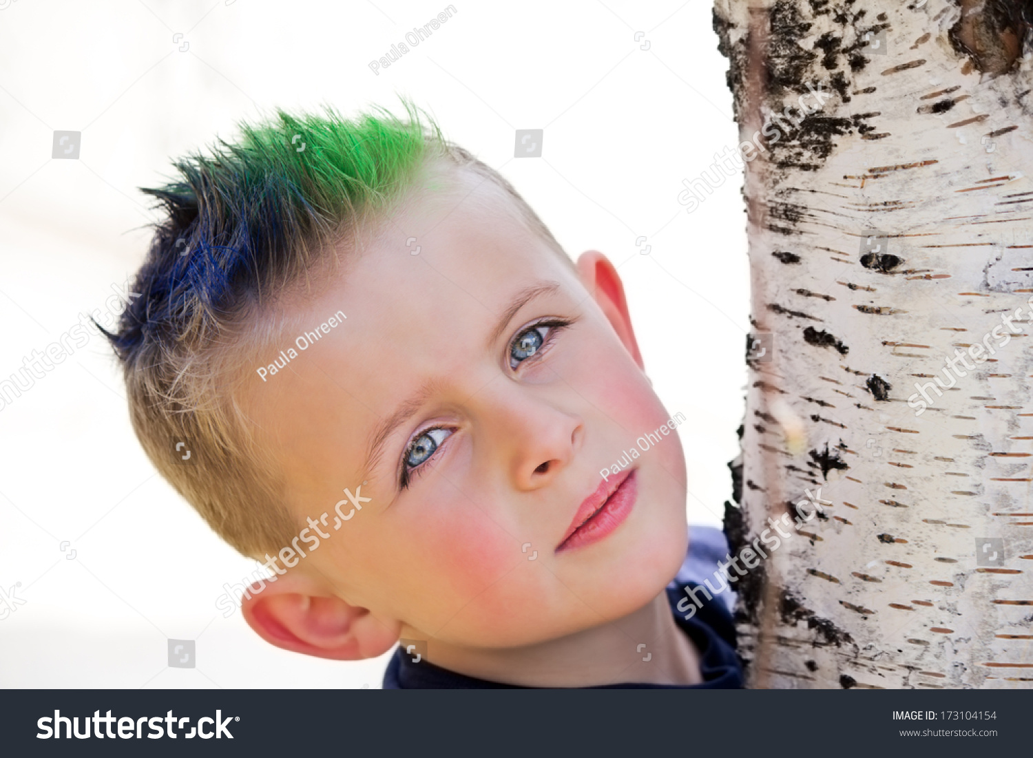 Young Boy Blue Green Spiky Hair Stock Photo Edit Now 173104154