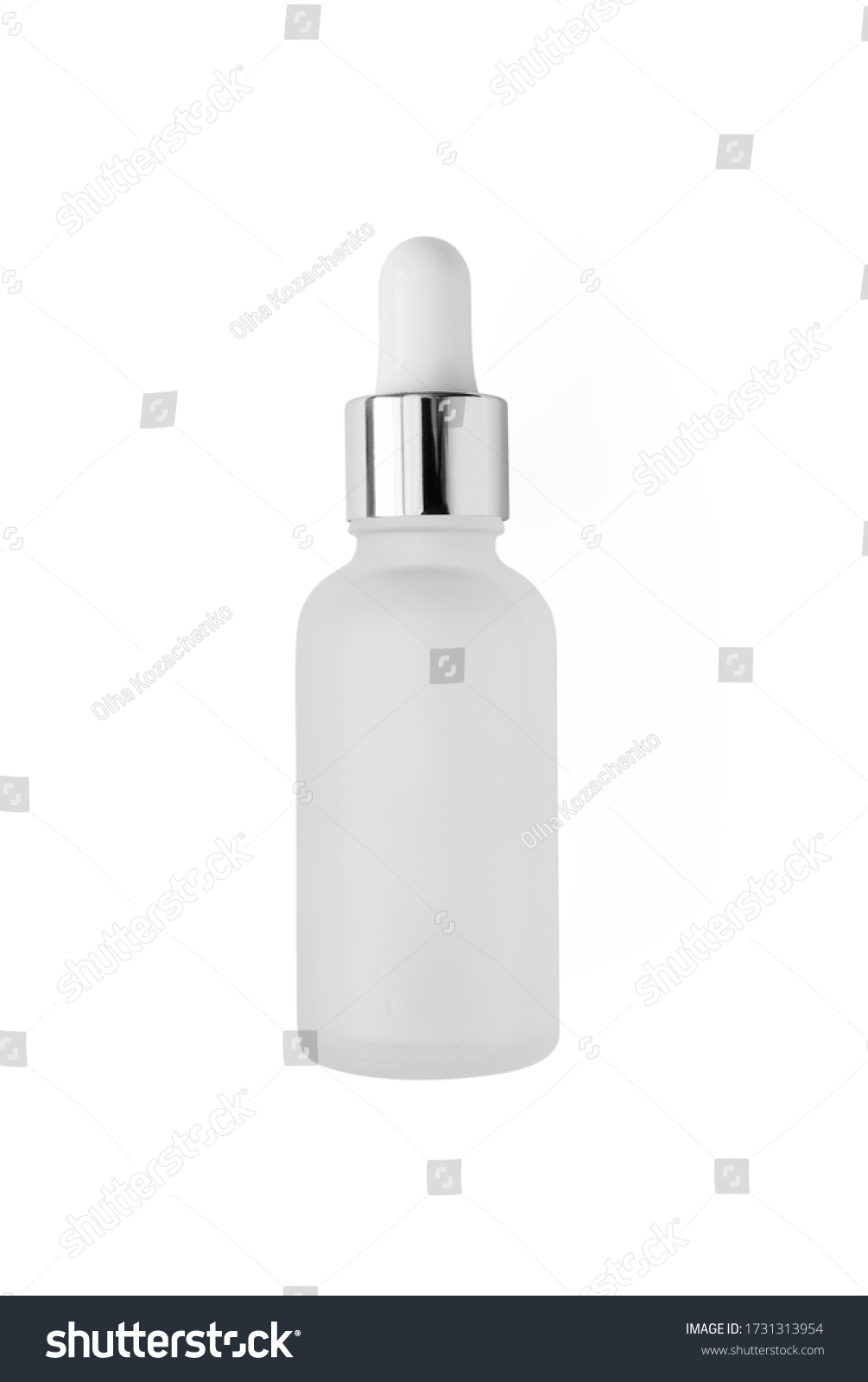 Frosted glass bottle with dropper with silver metallic cup isolated on white background, top view. Mockup cosmetic product