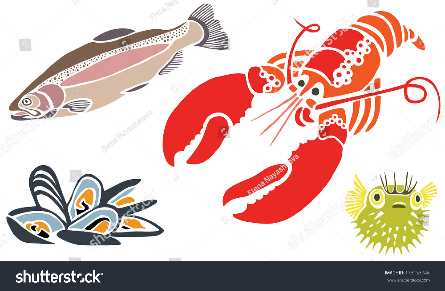Lobster Muscles Salmon Puffer Fish Stock Illustration 173133746 ...