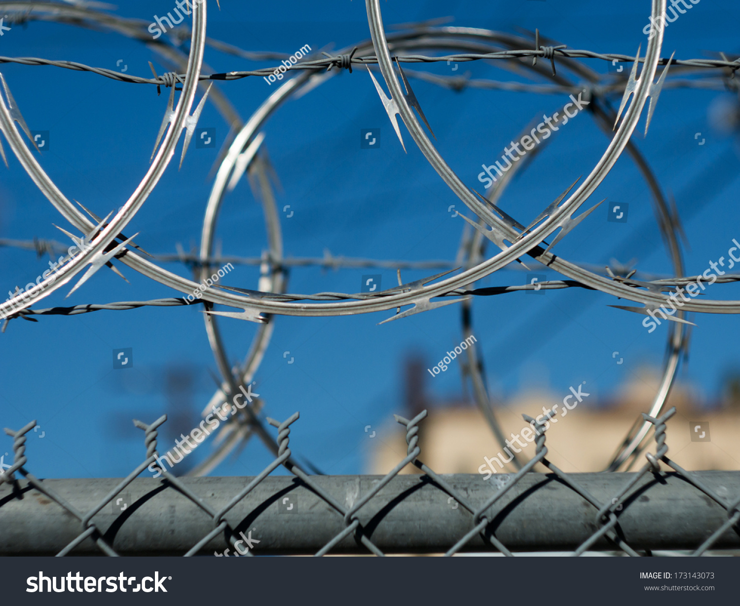 Razor Barbed Wire Security Fence Los Stock Photo (Royalty Free ...