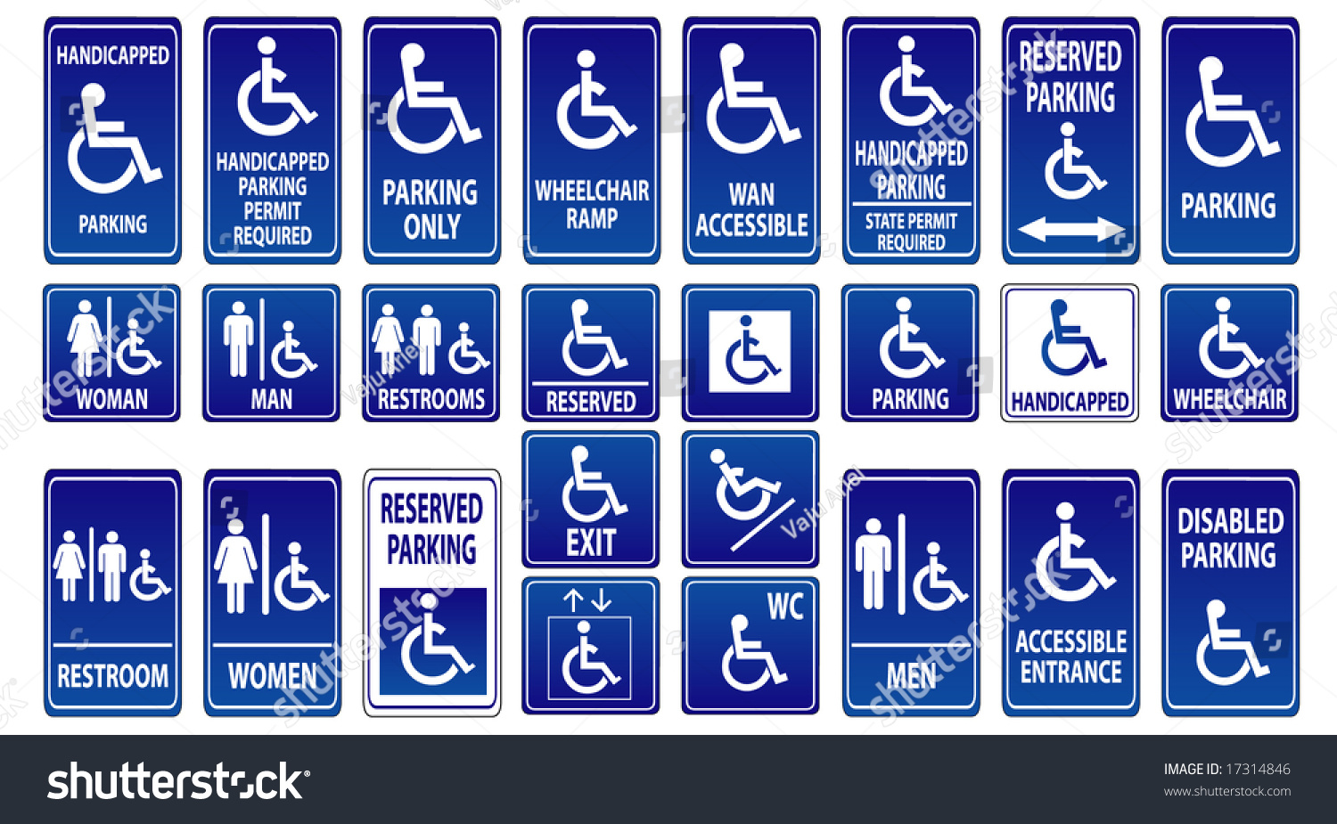 Wc disabled handicapped sign vector pack   BLUE VERSION  26 different  icons  Stock Vector. Royalty free Wc disabled handicapped sign vector   17314846 Stock
