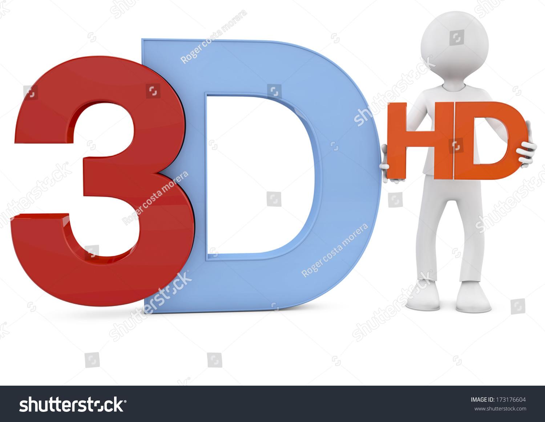 3d Render 3d Text Man Holding Stock Illustration 173176604 ...