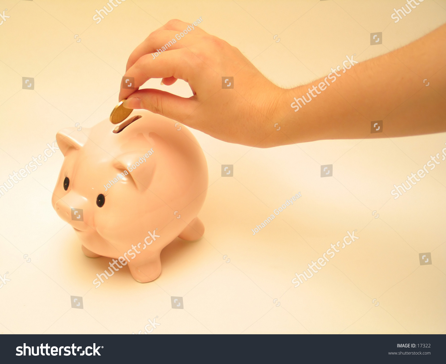 hand putting coin into piggy bank  stock photo 17322