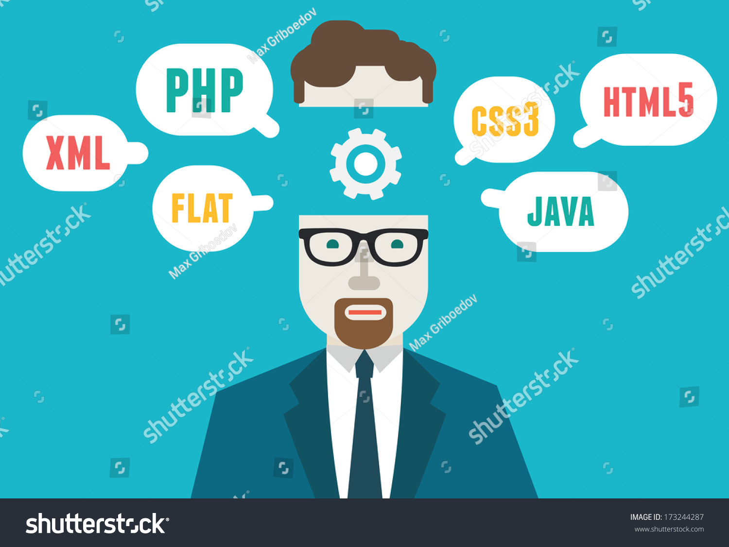 Flat Vector Illustration Of Programmer And Process Coding And – Xml Programmer