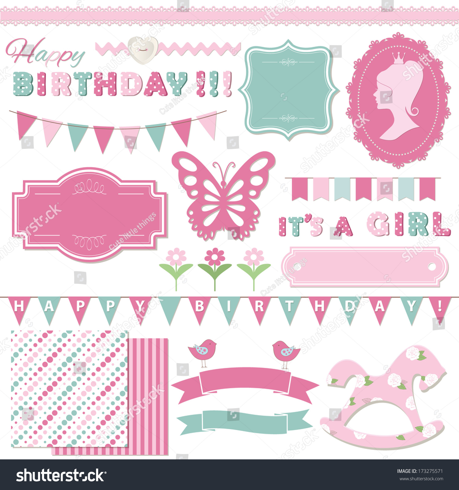 Birthday Party Girl Baby Shower Design Stock Vector Royalty Free