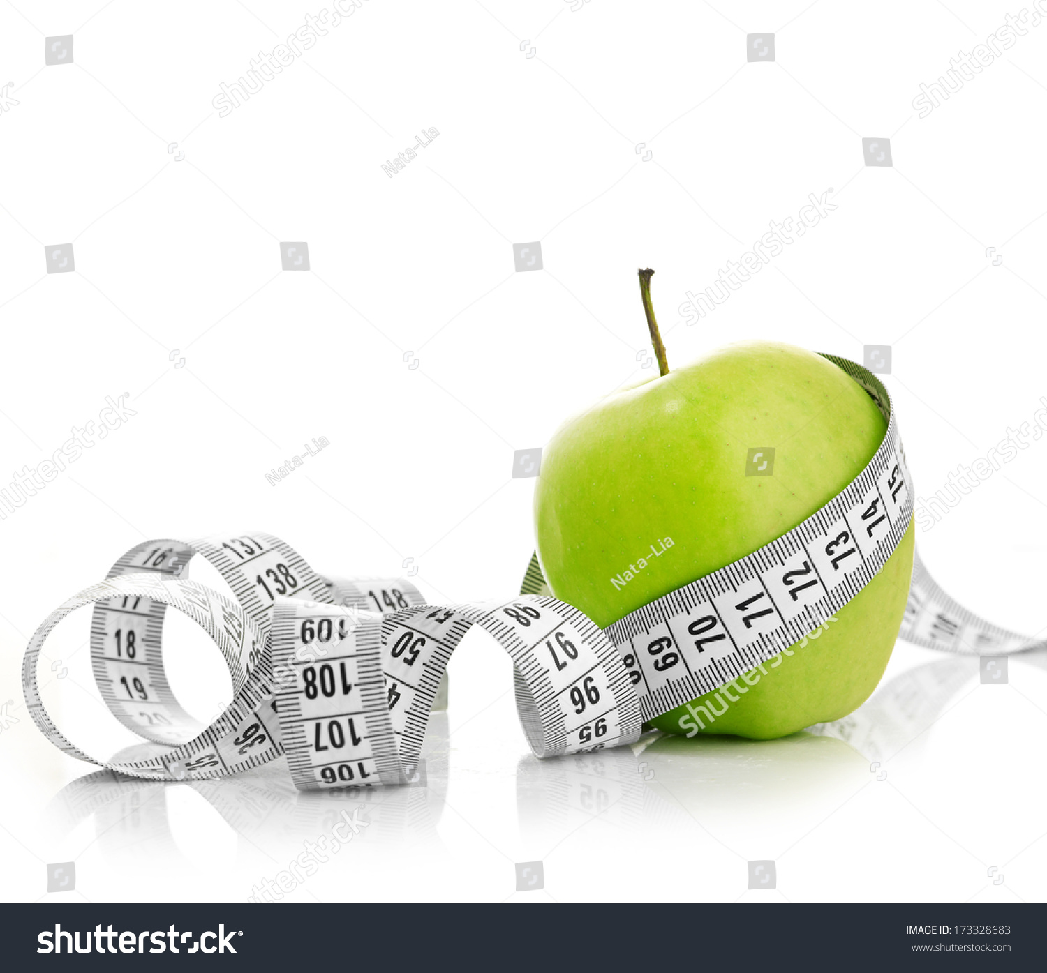 Measuring Tape Wrapped Around Green Apple Stock Photo 173328683