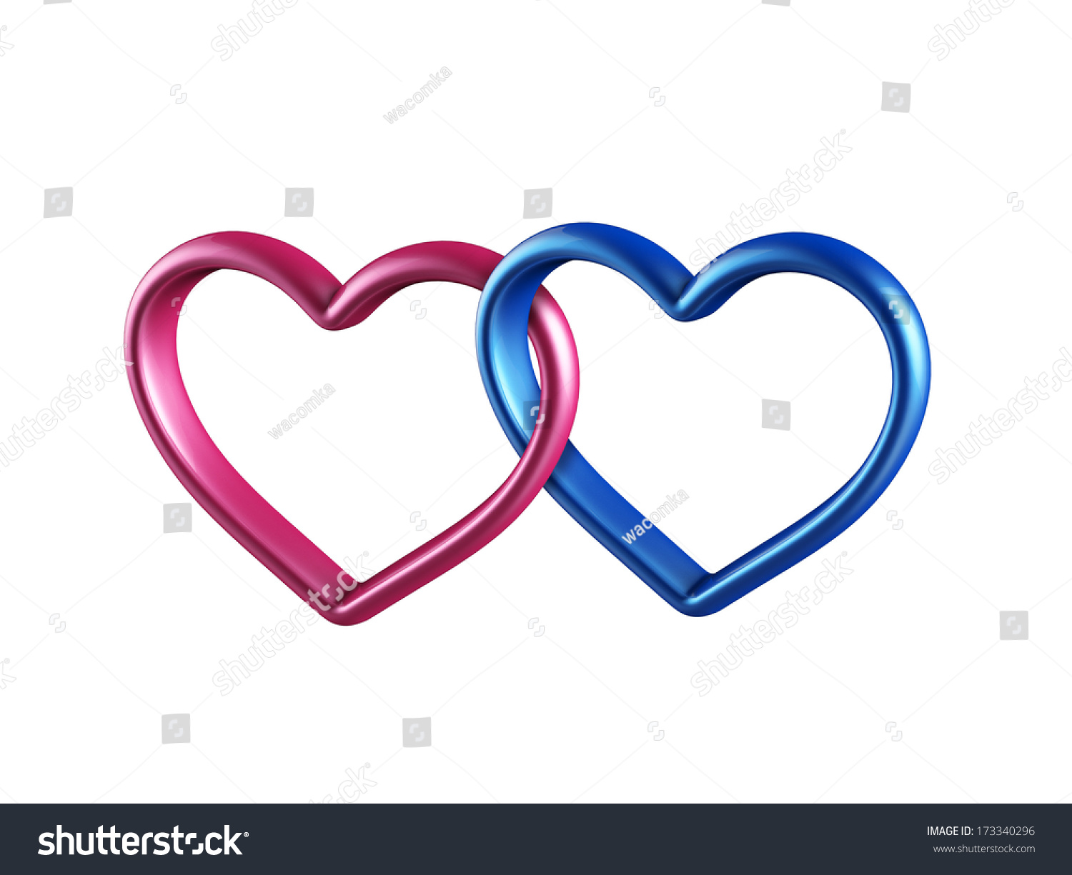 Two Hearts Rings Linked Together 3d Stock Illustration 173340296 ...