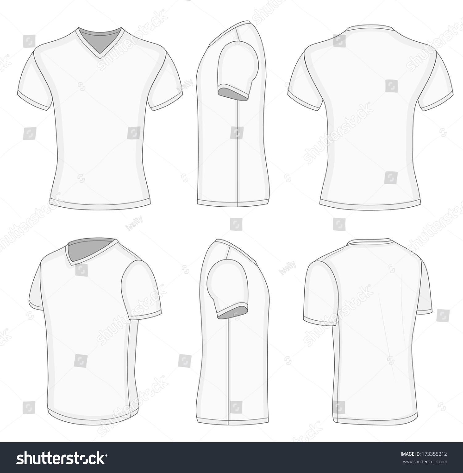 All views mens white short sleeve stock vector 173355212 for V neck back shirt