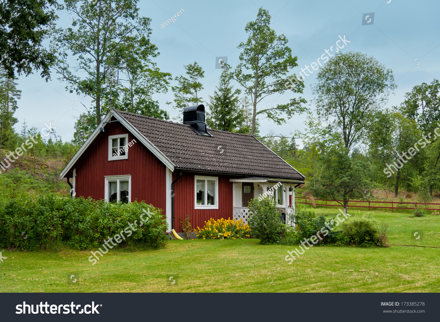 Typical Red Wooden Cottage Countryside Near Stock Photo